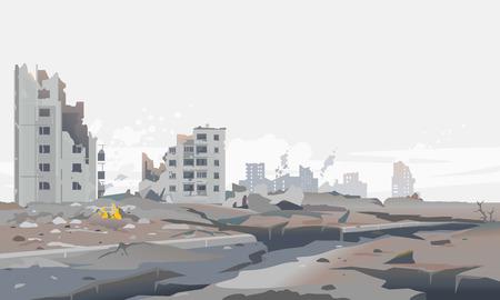Illustration de fond de paysage de concept de ville détruite, bâtiment entre les ruines et le béton après le tremblement de terre avec de grandes fissures autour, panorama de destruction du quartier résidentiel