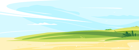 Green lawn on a sunny day for rest and picnic near the sandy shore with blue sky, place for summer holiday in the nature, summer sunny glades with field grasses Illustration