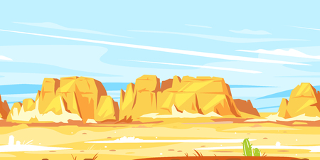 Desert landscape with high rocky canyon in the distance in sunny day landscape game background tileable horizontally, arid deserted place without water, wild west concept scenery background Illustration