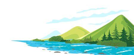Flusso del fiume di montagna vicino alla foresta di abeti rossi con cespugli lungo le rive, illustrazione del paesaggio del concetto di natura su fondo bianco