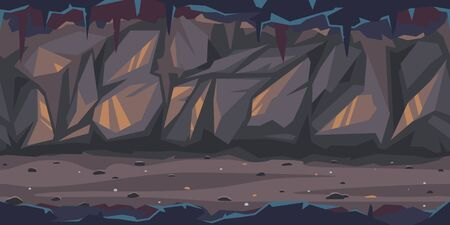 Path is crossing the dark cave game background tillable horizontally, dark terrible empty place with rock walls in side view, dangerous dungeon illustration Illustration