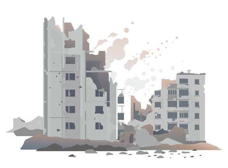 Osteuropäische zerstörte Gebäude zwischen den Ruinen und Beton, Kriegszerstörungskonzeptillustration einzeln auf weißem Hintergrund, zerstörte Wohnviertellandschaft
