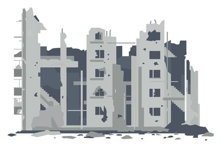One five-story eastern european war destroyed building with debris and concrete in front view, ruins apartment building isolated