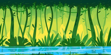 River flows through the jungle around different plants and trees with lianas game background tillable horizontally, wildlife of tropical forest flooded with water, illustration of equatorial jungle