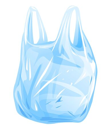 One empty plastic bag with handles isolated illustration, thin transparent disposable bag, plastic shopping bag, plastic grocery bag  イラスト・ベクター素材