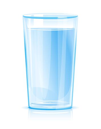 One glass of clean blue fresh water isolated, clean drinking water illustration, cool refreshing drink