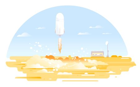 Large oval bright rocket launch in the middle of the desert with mission control center afar, rocket ship flying to the space concept illustration in flat style isolated, colonization of Mars