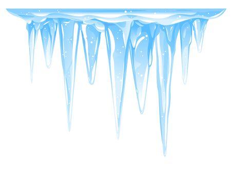 Grappolo di ghiaccioli congelati blu che pendono dalla superficie del ghiaccio coperta di neve, gruppo di ghiaccioli dettagliati di grande qualità isolati, lascia cadere con cura i ghiaccioli