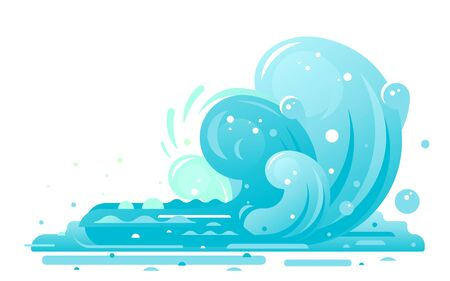 Simple waves of water in flat style isolated, big blue ocean wave in side view, wonderful big surfing wave Illustration