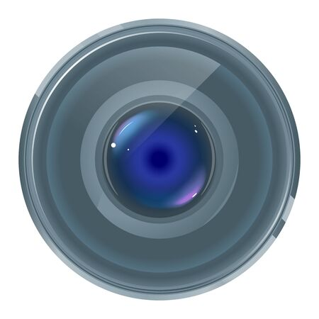 One quality grey smartphone lens with colored highlights on front view isolated, part of optical instrument 일러스트