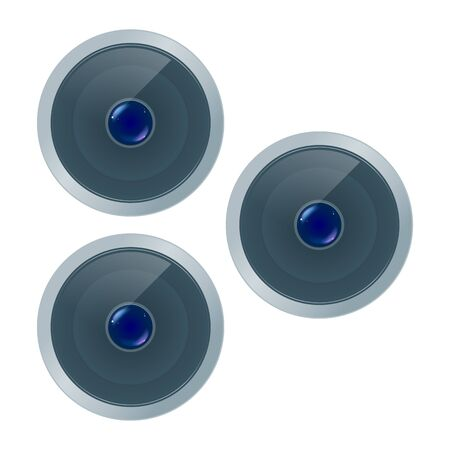 Group of three quality grey smartphone lens with colored highlights on front view isolated, part of optical instrument