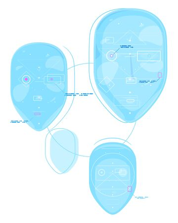 System technology of recognizing a human face, group of faces to identify a person, facial recognition system isolated, anonymity in the digital age