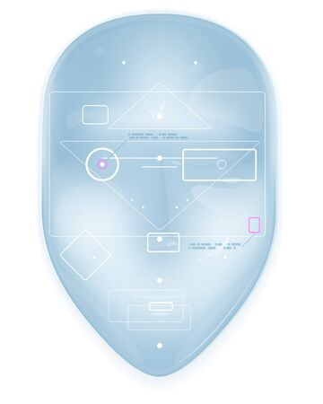 Recognizing a human face through technology face ID in front view, face mask conceptual illustration isolated, facial recognition system, anonymity in the digital age