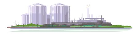 Oil production plant with storage tanks, petrochemical plant, big oil refinery in flat style isolated, manufacturing with metallic constructions