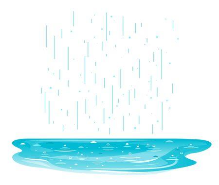 Une flaque d'eau avec illustration isolée de gouttes de pluie, illustration simple de pluie avec flaque d'eau Vecteurs