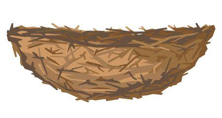 Un nido de pájaros marrón vacío en la vista lateral de pequeñas ramas aisladas, pequeño nido de delgadas ramas de árboles y arbustos Ilustración de vector