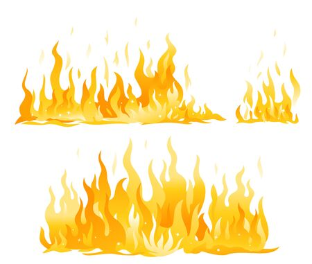 Set of fire flames isolated illustration, horizontal hot fire flame compositions, cartoon fiery wall Illustration