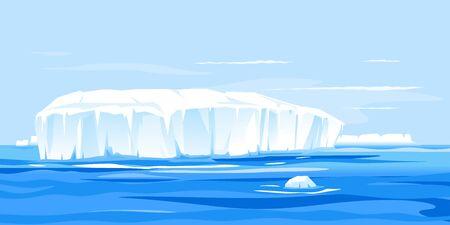 One giant iceberg in ocean landscape illustration, global warming concept illustration, iceberg drifts into the sea, large iceberg broke away Иллюстрация