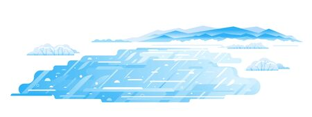 Mountain lake frozen in winter, winter landscape flat illustration in sample geometric shapes, frozen mountain lake isolated Ilustração