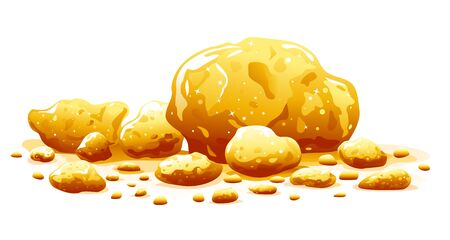 Group golden nuggets isolated illustration, big bright treasure of gold ore, wealth concept illustration, precious stones or lump of golden stones