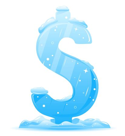 Ice dollar sign frozen and stand on white background, freezing rate conceptual illustration 向量圖像