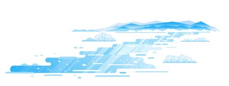 Winding mountain river frozen in winter, winter landscape flat illustration in sample geometric shapes, frozen mountain stream isolated