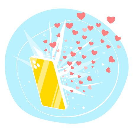 One golden smartphone with many likes hearts on social networks isolated conceptual flat illustration, from the screen of smartphone flies many hearts, popularity in social networks