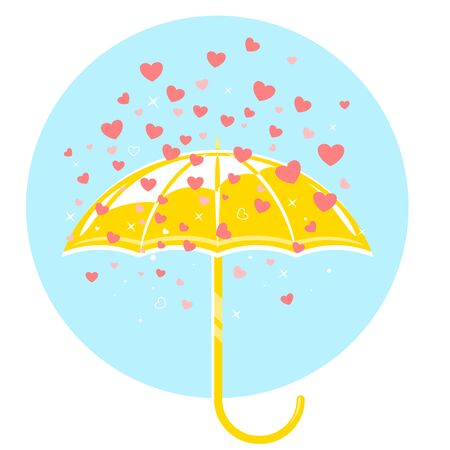 Yellow umbrella and rain of hearts conceptual isolated illustration in flat style, popularity in social networks, many likes hearts on social networks