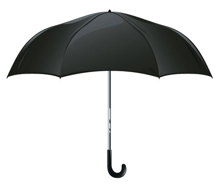 One classic male black automatic open umbrella in side view isolated illustration, rain protection Illusztráció