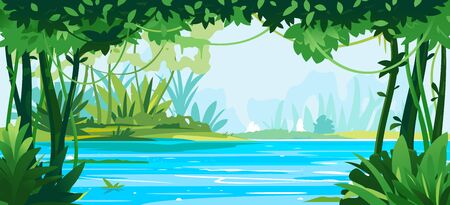 River flows through the jungle around different plants and trees with lianas, wildlife of tropical forest flooded with water, illustration of equatorial jungle
