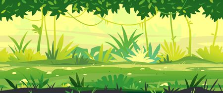 Path through the jungle with green plants nature landscape tillable horizontally, wild jungle forest with bushes and lianas, nature with green jungle foliage and lianas in summer sunny day  イラスト・ベクター素材