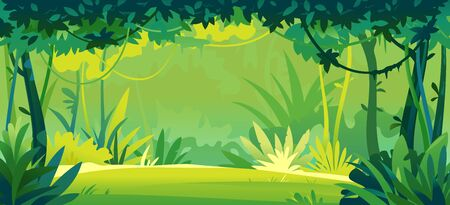 Small sunny lawn in wild jungle forest with trees, bushes and lianas, nature landscape with green jungle foliage and exotic plants growing on ground, tropical plants on sunny day