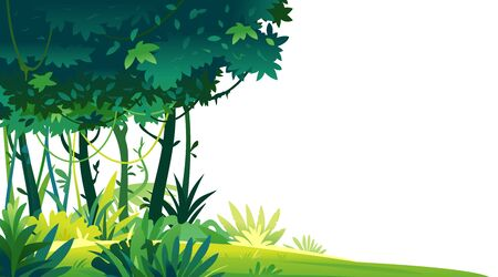 Wild jungle forest with trees, bushes and lianas on white background, decorative template composition of jungle plants, dense vegetation of the jungle, topical forest plants  イラスト・ベクター素材