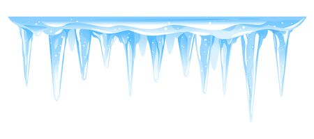 Blue frozen icicle cluster hanging down from snow-covered ice surface, big quality detailed group of icicles isolated, carefully drop the icicles Illustration