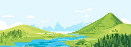 Green mountains in sunny day with river in valley and spruce forest in simple geometric form, nature tourism landscape background, travel mountains adventure illustration Vettoriali