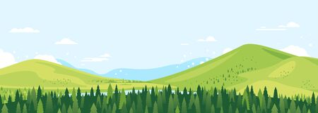 Spruce forest top in summer day landscape background in simple geometric form, wildlife panorama with mountain hills and river in the valley in sunny day with blue sky, green triangular spruces