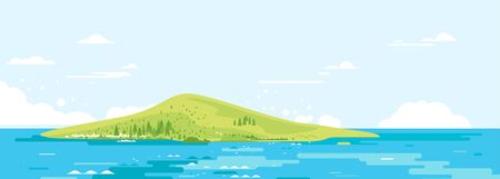 Green ocean island in flat style concept illustration, travel vacation exotic trip in summer time  イラスト・ベクター素材