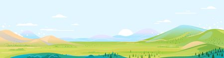 Big panorama of green mountains in sunny day with spruce forest and blue sky in simple geometric form, nature tourism landscape background, travel mountains adventure illustration
