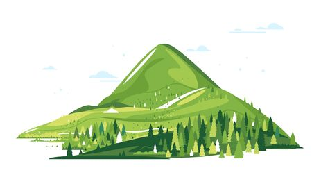 Group of green mountains with spruce forest around, nature tourism landscape illustration isolated, sample creative mountains composition