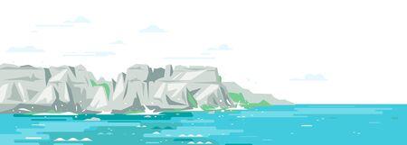Rocky cliffs ocean landscape background in flat style, sea panorama of beach coast in simple geometric form, sea waves crashing of gray rocky coast Ilustração Vetorial