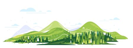 Green mountains with spruce forest around, nature tourism landscape illustration isolated, sample creative panorama of mountains