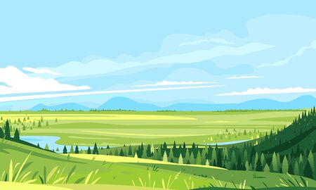 Place on the top of the hill with a panoramic view of river in valley, hiking travel concept illustration, panorama of green hills with grass and spruce forest, travel to mountains