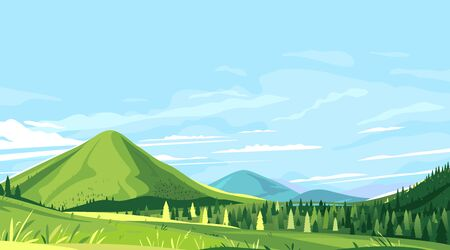 Tourist trails in the beautiful green mountains in sunny day, hiking travel concept illustration background, conquer the top of the mountains