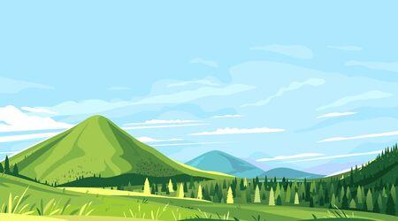 Touristische Wege in den schönen grünen Bergen an sonnigen Tagen, Wanderreisekonzept Illustrationshintergrund, erobern die Spitze der Berge