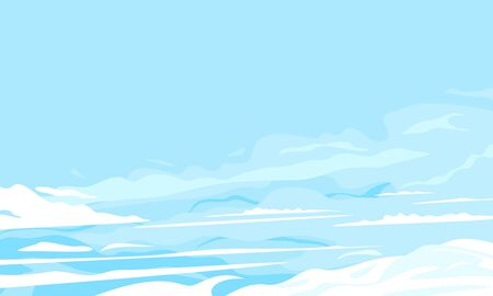 Blue sky with clouds background illustration, light blue sky with large wavy clouds, summer sky in sunny day in side view around the clouds with place for text  イラスト・ベクター素材