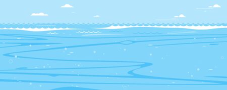 Underwater sea background in side view, simple lines of sea waves and underwater currents in flat style