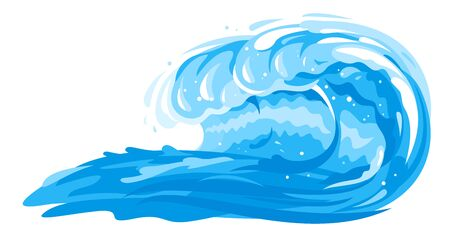 One big blue ocean wave in side view isolated illustration, wonderful big surfing classic wave