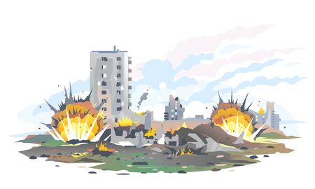 Big bomb explosions with shrapnel and fireball in city near the building, destroyed buildings ruins and concrete, war destruction concept illustration isolated on white background Vektorové ilustrace