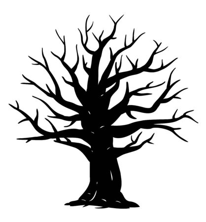 Silhouette of one wide massive old oak tree without leaves isolated illustration, black majestic oak without foliage with a rude trunk Vector Illustration