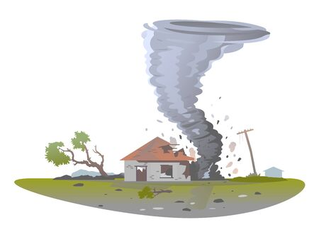 Tornado with spiral twists destroy one small house and tree, the power of nature concept isolated illustration, big dangerous tornado destroys building in residential neighborhood